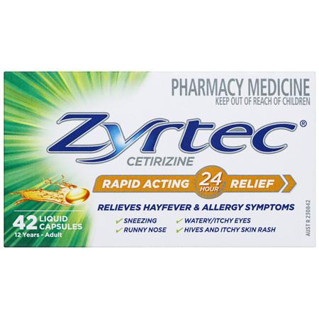 Zyrtec Rapid Acting Allergy & Hayfever Relief 42 Capsules