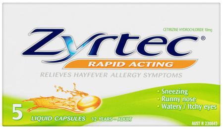 Zyrtec Rapid Acting Allergy & Hayfever Relief 5 Capsules