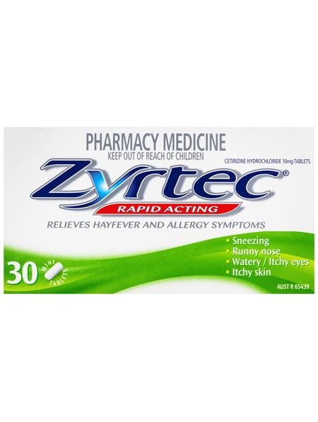 Zyrtec Rapid Acting Relief 30 Tablets